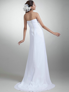 Column Strapless Brush Train Chiffon Beading Sequin Wedding Dresses