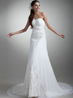 Over Hip Strapless Court Train Chiffon Beading Sequin Wedding Dresses