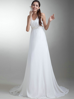 A-line Straps Brush Train Chiffon Beading Wedding Dresses
