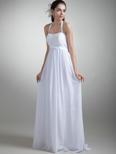 Column Halter Floor-length Chiffon Beading Sequin Wedding Dresses