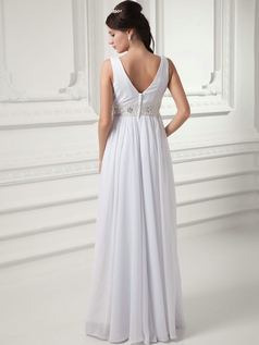 Column V-neck Floor-length Chiffon Crystal Sequin Wedding Dresses
