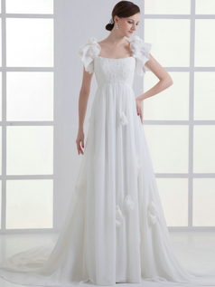 A-line Bateau Sweep Chiffon Lotus Leaf Sleeve Flower Wedding Dresses With Beading