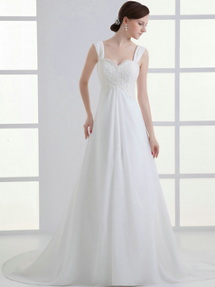 A-line Straps Brush Train Chiffon Sequin Beading Wedding Dresses