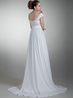 Column Bateau Brush Train Chiffon Cap Sleeves Bowknot Wedding Dresses