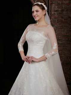Noble A-Line Lace Strapless Court Train Wedding Dresses With 3/4 Length Sleeve Jacket