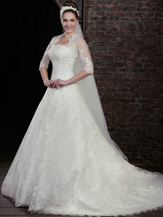 Fantasy A-Line Lace Strapless Court Train Wedding Dresses With Half Sleeve Jacket