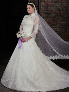 Magnificent A-Line Lace Strapless Court Train Wedding Dresses With 3/4 Length Sleeve Jacket