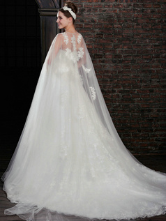 Astounding A-Line Lace Strapless Court Train Wedding Dresses With Jacket