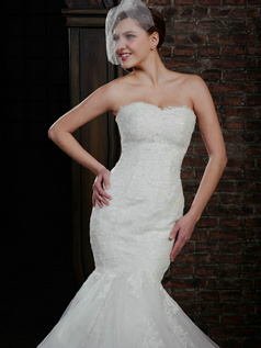 Adorable Mermaid Lace Strapless Court Train Wedding Dresses With Jacket