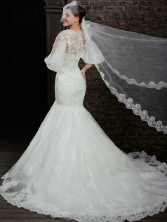 Brilliant Mermaid Lace Strapless Court Train Wedding Dresses With 3/4 Length Sleeve Jacket