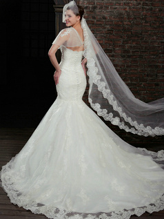 Fabulous Mermaid Lace Strapless Court Train Wedding Dresses With Jacket