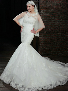 Incomparable Mermaid Lace Strapless Court Train Wedding Dresses With Half Sleeve Jacket