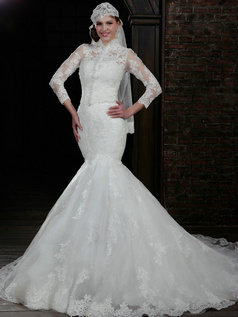 Phenomenal Mermaid Lace Strapless Court Train Wedding Dresses With 3/4 Length Sleeve Jacket