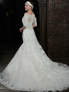 Graceful Mermaid Lace Strapless Court Train Wedding Dresses With Half Sleeve Jacket