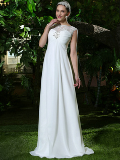 Ruched Baggy Column Chiffon Bateau Floor-length Wedding Dresses with Rhinestones and Crystals Size 2 And Size 4