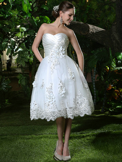 Sparkly Ruched Lace Ball Gown Sweetheart Tea-length Rhinestones and Crystals Wedding Dresses with Flowers Wedding Dresses