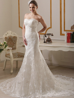 Slimming Mermaid Sweetheart Court Train Lace Wedding Dresses Size 2 And Size 4
