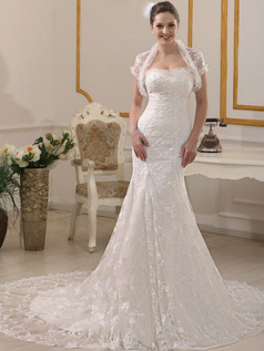 Mermaid Sweetheart Court Train Lace Wedding Dresses With Short Sleeve Open Front Jacket
