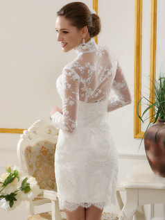 New Sheath Short Lace Wedding Dresses With High Neck Long Sleeve Single-breasted Jacket