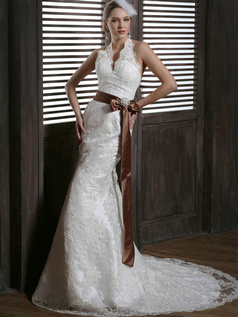 Sexy Mermaid Lace Halter Sweep Train with Brown Sash and Rhinestones Backless Wedding Dresses