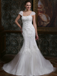 Sparkly Mermaid Straps Cap Sleeves Court Train Backless Lace Wedding Dresses