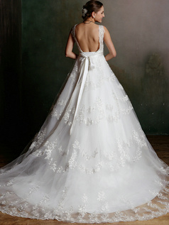 A-line V-neck Court Train Sasha Lace Backless Wedding Dresses with Rhinestones and Crystals