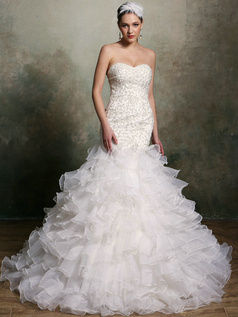 Sparkly Mermaid Organza Sweetheart Court Train Ruffles Wedding Dresses Size 2 And Size 4
