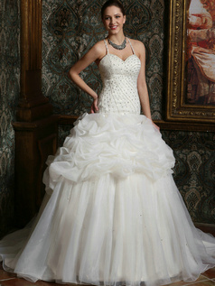Sparkly Princess Organza Spaghetti Straps Court Train low-cut Pick-Ups Wedding Dresses