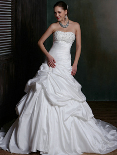 Royal Over Hip Satin Sweetheart Court Train Pick-Ups Wedding Dresses with Rhinestones and Crystals Size 2 And Size 4