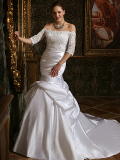 Voluminous Over Hip Taffeta Court Train Wedding Dresses With Half Sleeve Off The Shoulder Lace Jacket