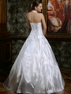Ball Gown Deep V-neck Taffeta Halter Floor-length Lace Ruffles Wedding Dresses