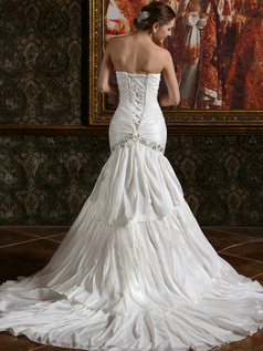 Ruched Mermaid Taffeta Sweetheart Chapel Train Ruffles Wedding Dresses with Rhinestones