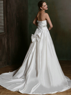 A-line Taffeta Tube Top Court Train Sash Wedding Dresses with Rhinestones and Crystals