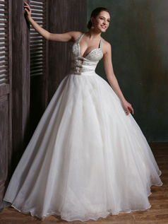 Sexy Deep V-neck Ball Gown Tulle Halter Floor-length Cross Straps Wedding Dresses