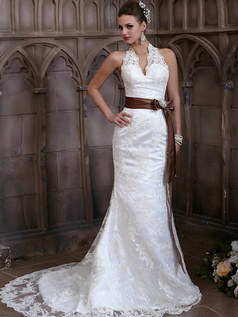 Sexy Mermaid Lace Halter Bowknot Brown Sash with Rhinestones Sweep Train Backless Wedding Dresses