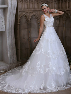 A-line V-neck Sasha with Crystal and Rhinestone Court Train Backless Lace Wedding Dresses