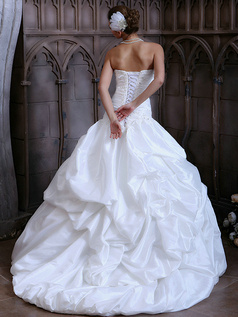 Glamorous Princess Taffeta Sweetheart Sweep Train Pick-Ups Lace Wedding Dresses Size 2 And Size 4