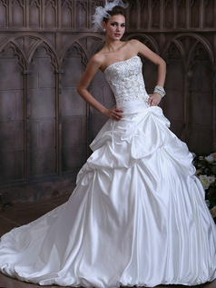 Princess Taffeta Sweetheart Pick-Ups Court Train Wedding Dresses with Beading and Sequin Size 2 And Size 4
