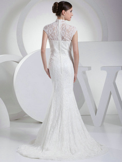 Appealing Mermaid Lace High neck Sweep Train Wedding Dresses