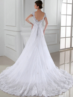 Happiness Promise Mermaid Lace V-neck Beading Wedding Dresses