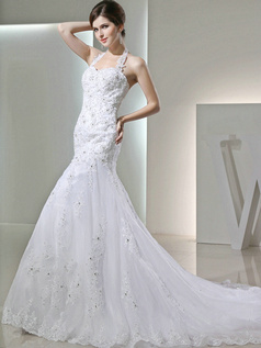 Beautiful Mermaid Lace Halter Beading Wedding Dresses