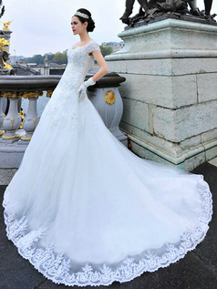 A-line V-neck Cap Sleeves Court Train Lace Appliques Backless Wedding Dresses
