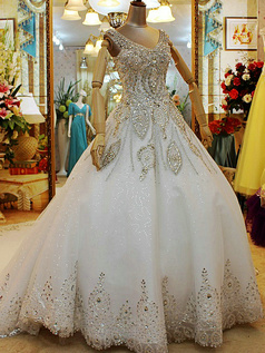 Ball Gown Straps Crystals And Rhinestones Bodice Chapel Train Lace Semi Transparent Jewelry Back Wedding Dresses