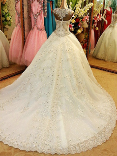 Ball Gown Sweetheart Court Train Lace Crystals And Rhinestones Bodice Wedding Dresses With Bowknot