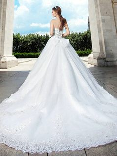 Ball Gown Sweetheart Court Train Lace Sequin Big Shining Crystals Wedding Dresses With Bowknot