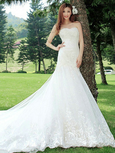 Mermaid Sweetheart Cathedral Train Lace Wedding Dresses