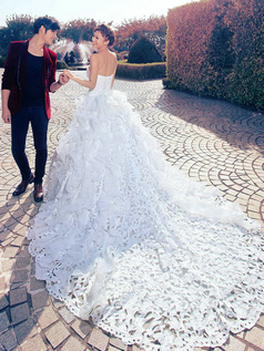 Ball Gown Sweetheart Cathedral Train Lace Cut Flowers Ruffle Wedding Dresses