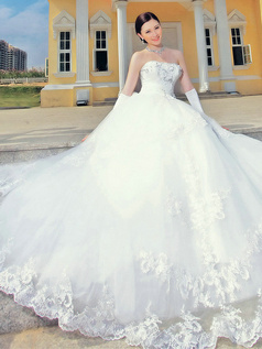 Princess Sweetheart Brush Train Lace Flower Wedding Dresses