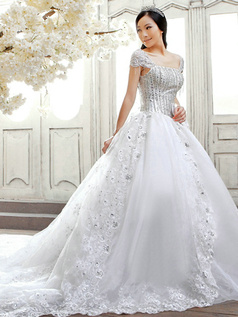 Ball Gown Cap Sleeves Chapel Train Lace Bowknot Wedding Dresses With Crystals And Rhinestones Bodice