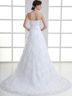 A-line Sweetheart Brush Train Bowknot Flower Lace Wedding Dresses